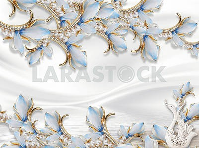 3d illustration, white silk background, fabulous blue flowers on golden stems with pearls and crystals, white ceramic swan