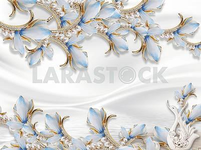 3д иллюстрация, белый шелковый фон, сказочные голубые цветы на золотых стеблях с жемчугом и кристаллами, белый керамический лебедь