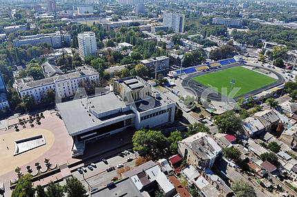 """Odessa. Aerial view. Musical Comedy Theater and the stadium """"Spartak"""" setyabrya 27, 2011"""