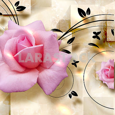 Beige 3d illustration with two pink roses