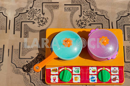 Image of children's dishes  close-up. Copy space