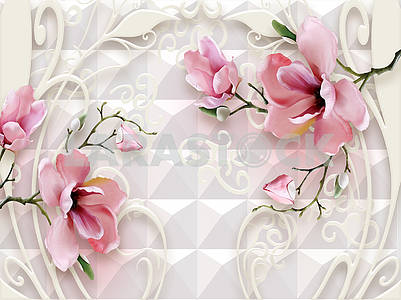 3d illustration, white background, tile, ornamental white flowers and pink flowers on green branches