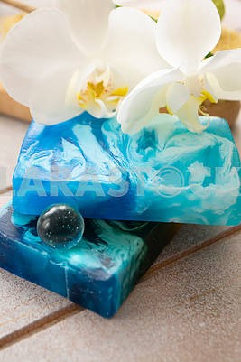 Blue set for bath with sea organic soap, vertical image