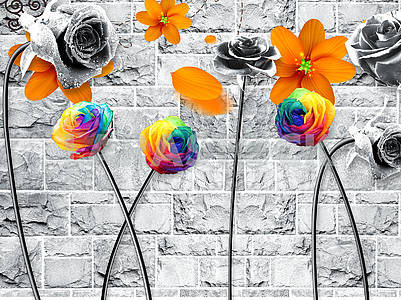 3d illustration, gray tiled background, black and colored roses on black stems, ornamental flower buds with torn petals