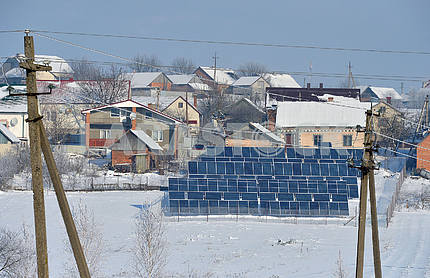 Solar panels in the yard of the house
