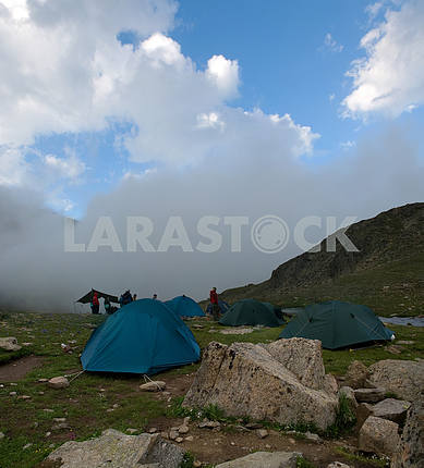 Camp in mountains of caucasus