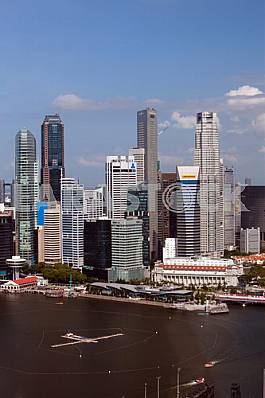 Singapore. View of the bay and the high rise buildings
