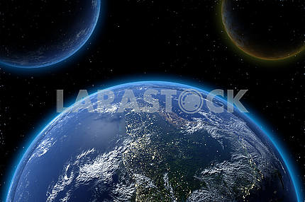 Asteriods in blue earthe from space in 3D. Elements of this image furnished by NASA