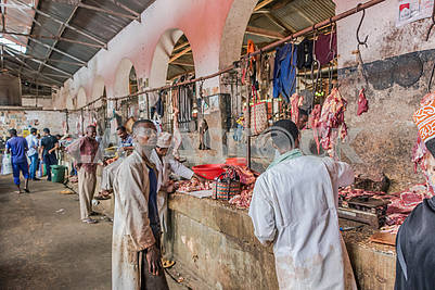 Meat row in the bazaar