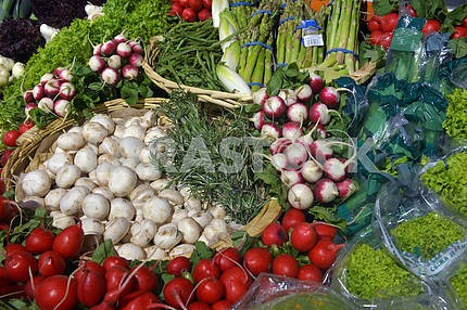 vegetables on display in supermarket