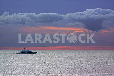 White yacht in the middle of sea