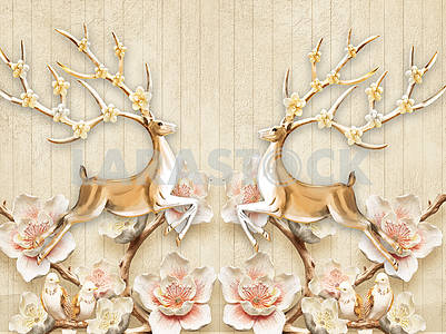 3d illustration, beige background, vertical boards, large white and pink flowers on brown branches, two large deer with flowering horns