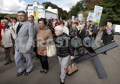 People take part in the Peace March in Kiev