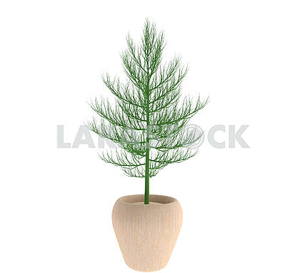Tree with plot on isolated in 3D render image
