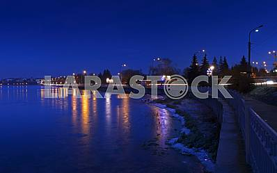 Night city landscape winter Ternopil