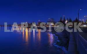 Night city landscape winter Ternopil