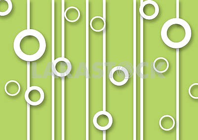 3d illustration, green background, white rings, white vertical lines