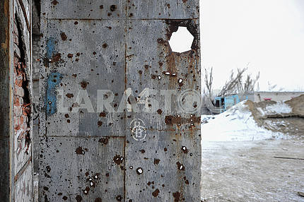 Traces from explosions in Avdeevka