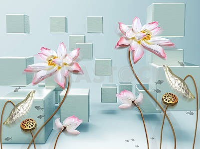 3d illustration, green and blue background, cubes, large pink flowers on gilded stems