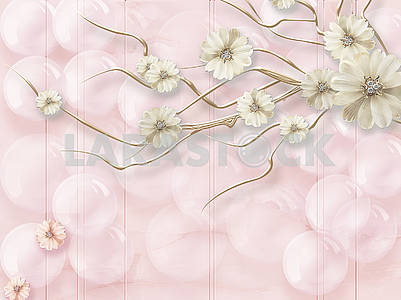 3d illustration, light pink background, bubbles, fabulous gold plated flowers