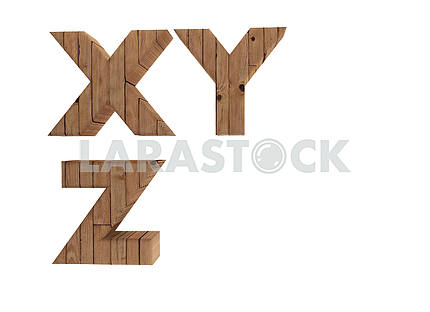 wooden alphabet letters english language X Y Z in 3D render image