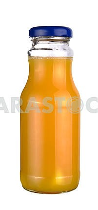 Orange juice in a little glass bottle