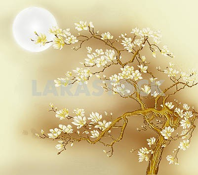 Fabulous golden tree with white flowers, beige background, full moon