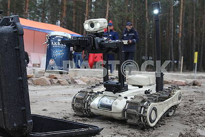 The robot is engaged in chemical reconnaissance