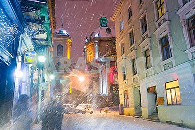 Lviv in winter temple