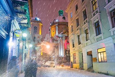 Lviv in winter temple