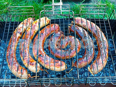 Sausages roasting on grill at summer.