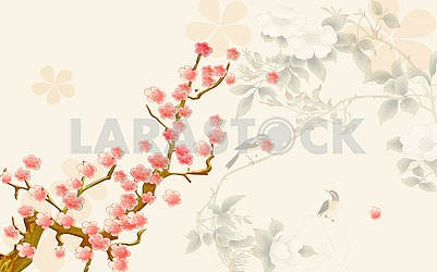 Spring background, painted cherry blossoms and birds