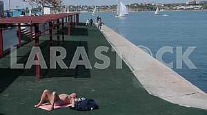 Cape Khrustalny beach in Sevastopol.