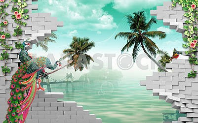 3d illustration, gray bricks, peacocks, palm trees, water, hanging bridge