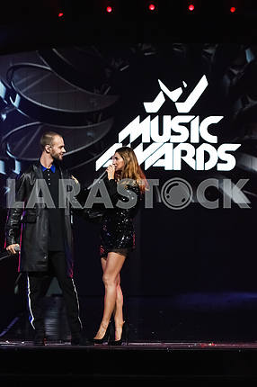 Max Barskikh and Tanya Reshetnyak at the award ceremony of the M1 Awards 2016