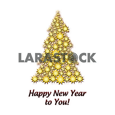 Gold Firtree made from Golden Stars isolated on white