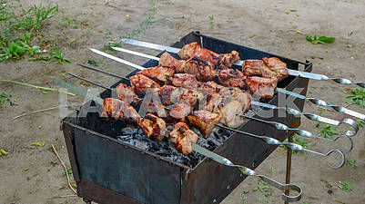 BBQ  meat on barbecue for family dinner