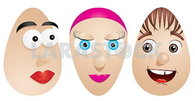 Three Easter eggs with cute cartoon faces isolated on white, set 2