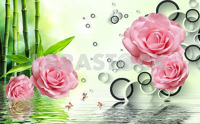 3d illustration, light background, black and white rings, green bamboo, large pink roses, reflection in water