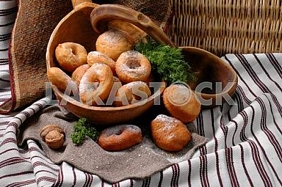 Donuts sprinkled with powdered sugar