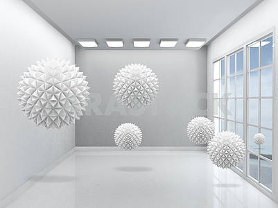 3d illustration, empty gray interior with window, large gray paper origami balls