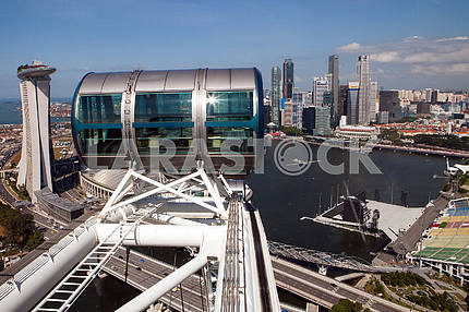 The cabin Ferris wheel on the background of buildings in Singapore
