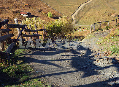 Mountain road, fence, shadows, pasture