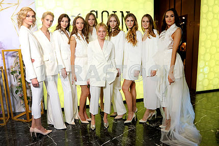 Designer Katerina Kvit with models.