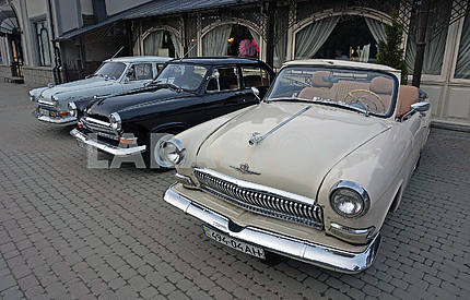 Three old classic soviet retro cars GAZ M21 Volga