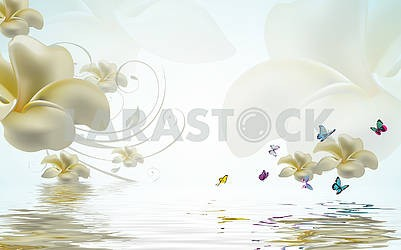 3d illustration, white background, large yellow-white buds of fabulous flowers, butterflies, reflection in water