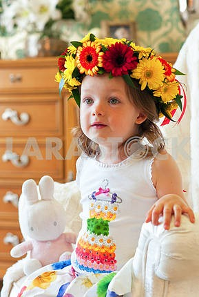 Girl with a wreath on her head