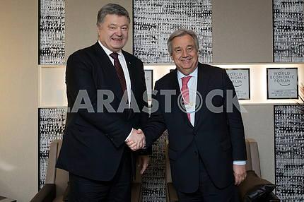 Petro Poroshenko and Antonio Guterres