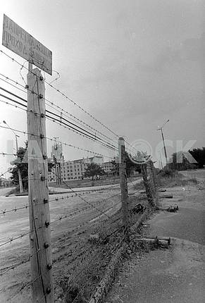 Fenced with barbed wire the town of Pripyat