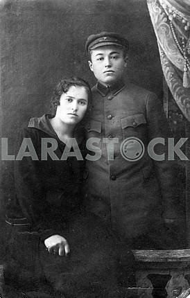 Portrait of a Red Army soldier and his wife
